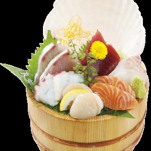 [限期供应]新鲜的木桶生鱼片盛礼物!!